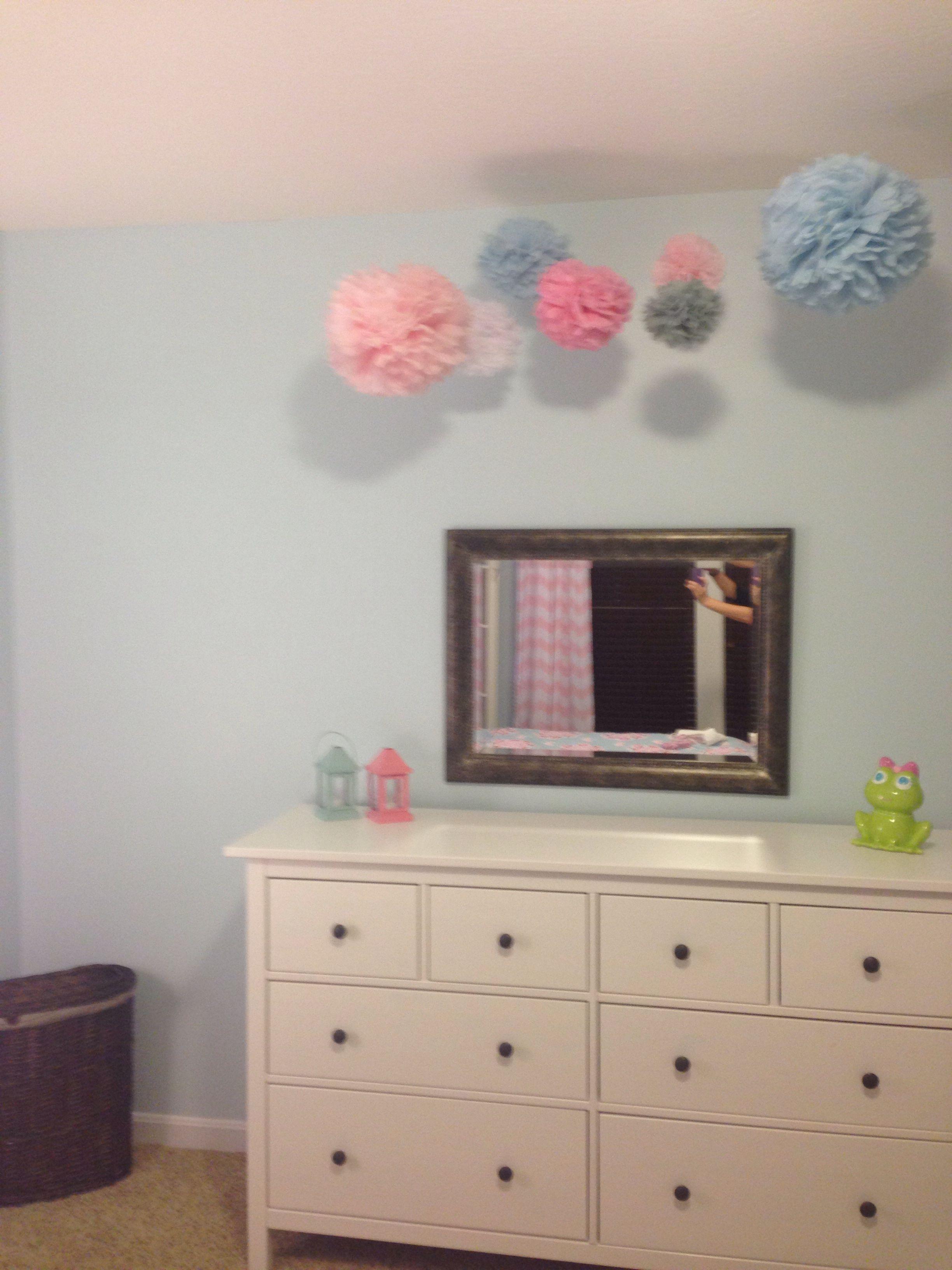 Maddy's completed light blue/pink big girl room.  Paper pom poms.  IKEA Hemnes bedroom set.