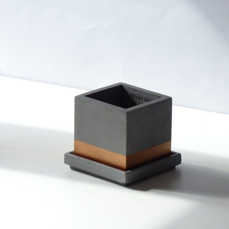 Atelier Ideco Modern Gray And Copper Cube Concrete Planter Pot With Square Saucer And Copper Painted Horizontal Strip In 2020 Concrete Planters Copper Paint Planter Pots