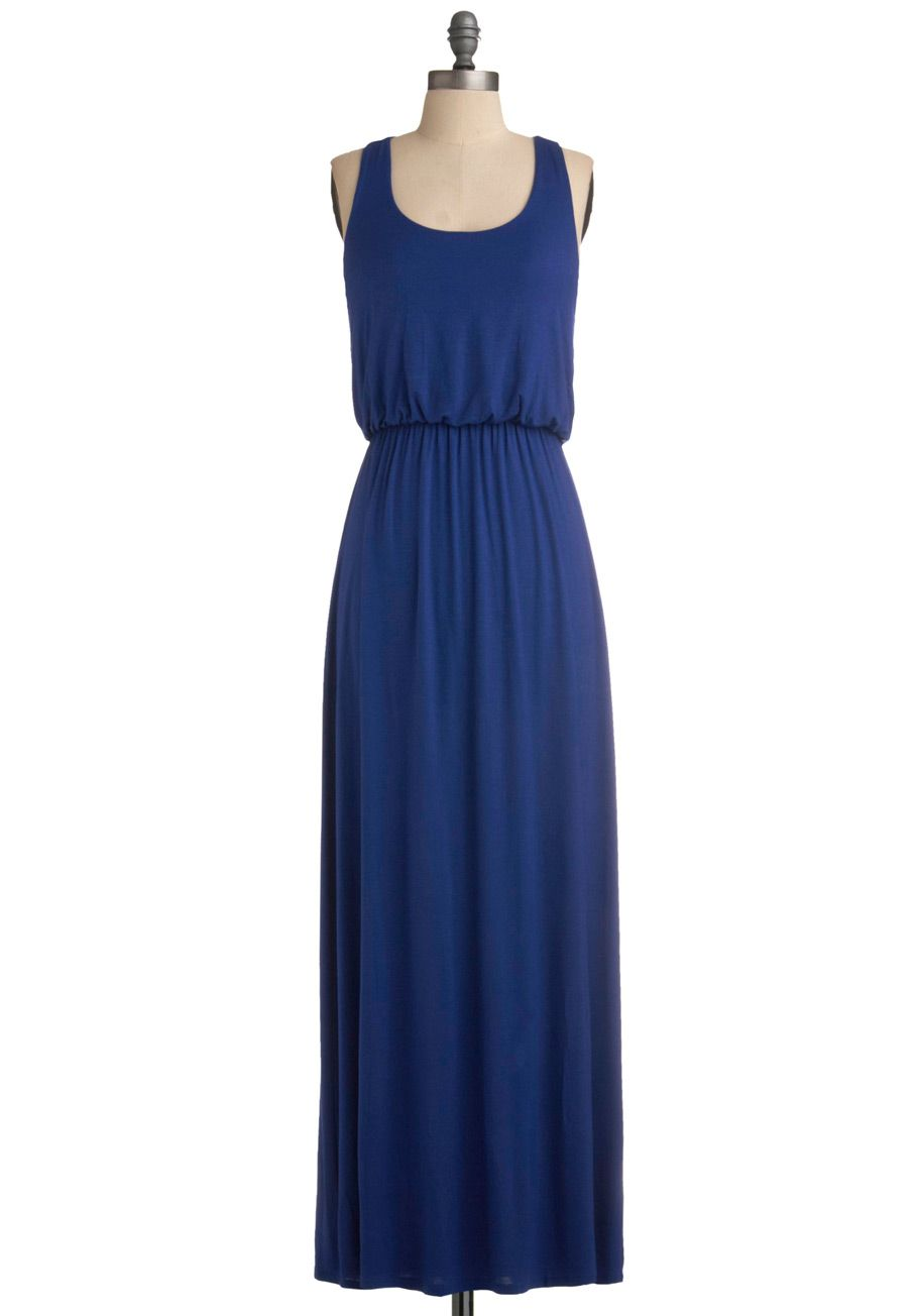 Summer Night Stroll Dress Blue Solid Casual A Line Tank Top 2 Thick Straps Racerback Summer Maxi Lon Mod Cloth Dresses Summer Maxi Dress Maxi Dress [ 1304 x 913 Pixel ]