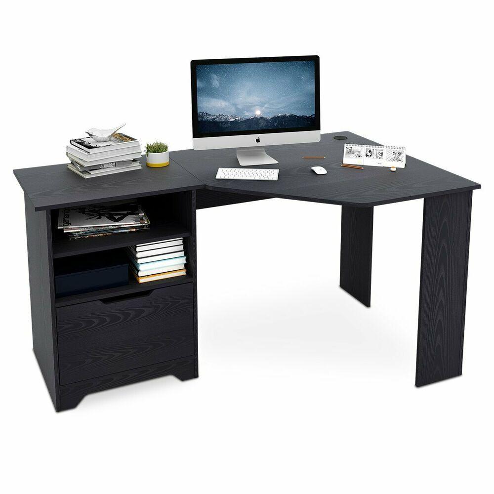 Wood L Shaped Corner Computer Desk For Home Office Black Affilink