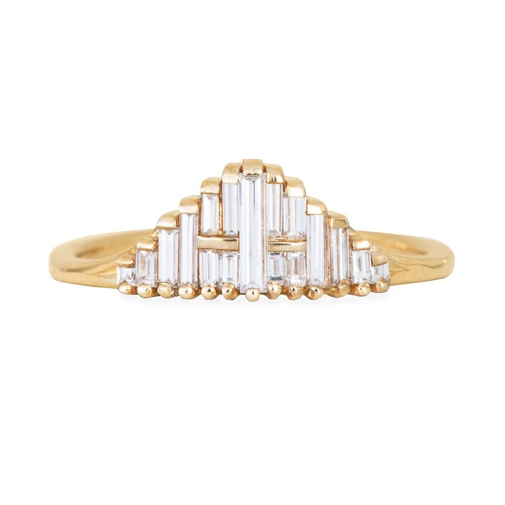 Photo of Vintage Style Engagement Ring – Art Deco Baguette Diamond Cluster Ring