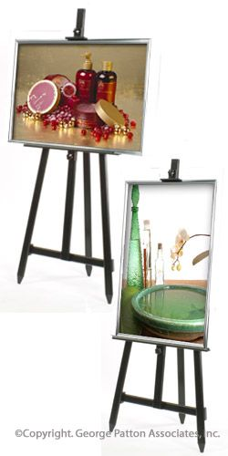 18 x 24 Poster Frame with Floor Easel - Black & Silver