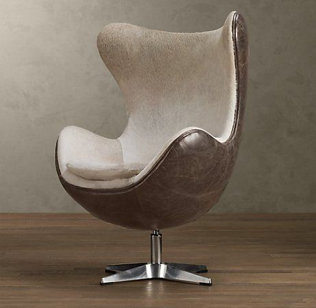 Ahhhhh!  I want this 1950's Copenhagen Chair- Hair on Hide front from Restoration Hardware. It comes in seven different leather color options.