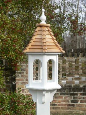 Wood Shingle Roof Classic White Vinyl Birdfeeder Cs 10 In