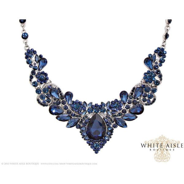 Blue Crystal Wedding Jewelry Set Vintage Inspired Bridal Necklace ...