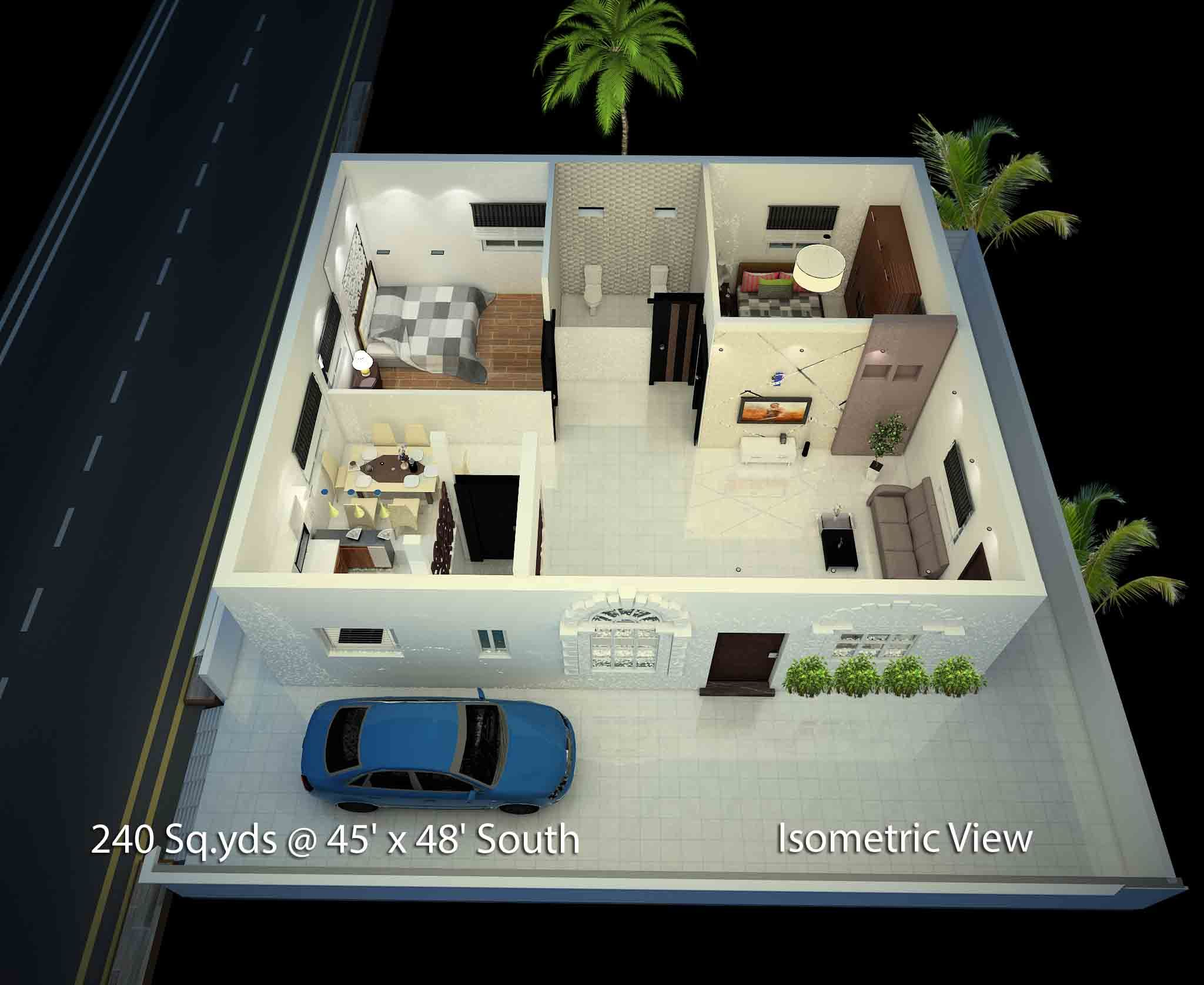 240 Sq Yds 45x48 Sq Ft South Face House 2bhk Isometric 3d