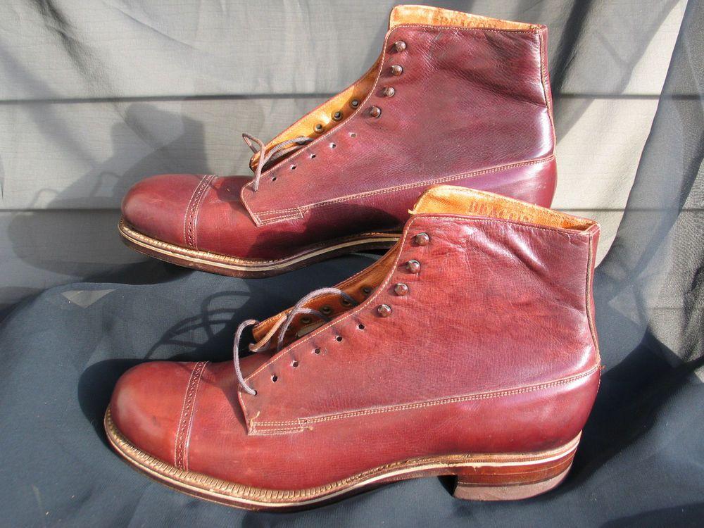 Vintage 1920s MENS BEACON  Deadstock CHERRY Cap Toe BOOTS #BEACON #Boots