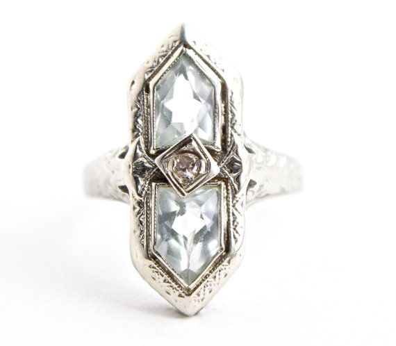 Antique 14K White Gold Diamond & Aquamarine Ring - Art Deco 1920s Filigree Fine Jewelry / Statement Pastel Blues by Maejean VINTAGE, $280.00