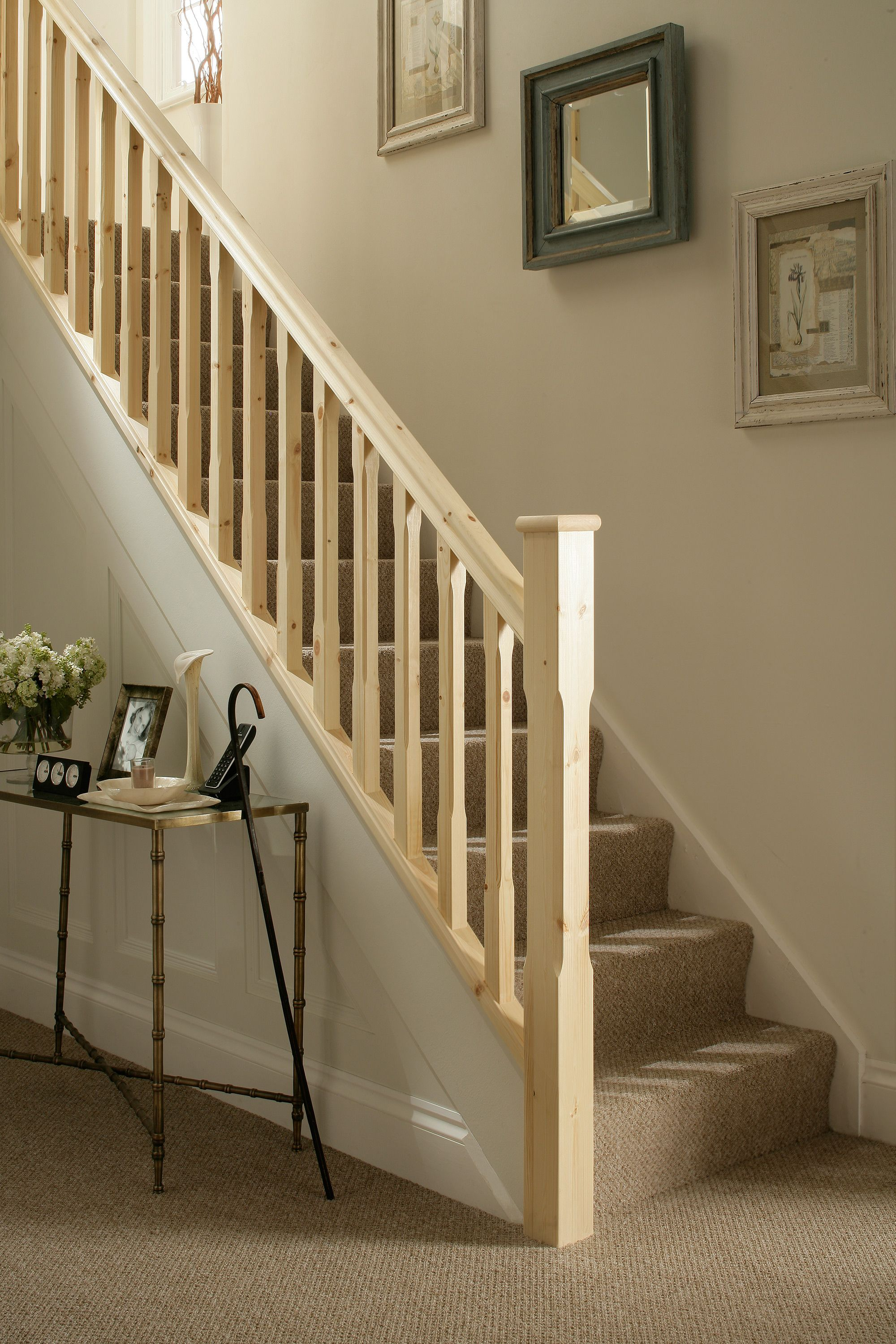Traditional Stop Chamfered Style Pine Staircase Banister Remodel