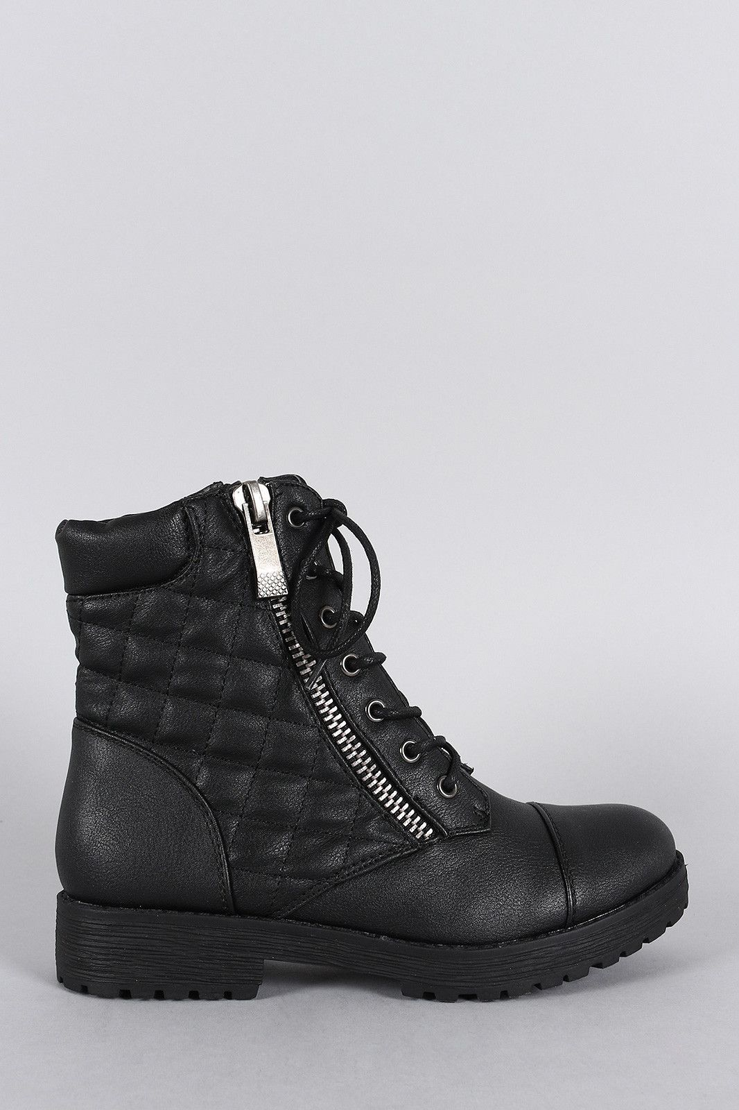 76e87a09c7d2 Bamboo Quilted Lace Up Combat Ankle Boots