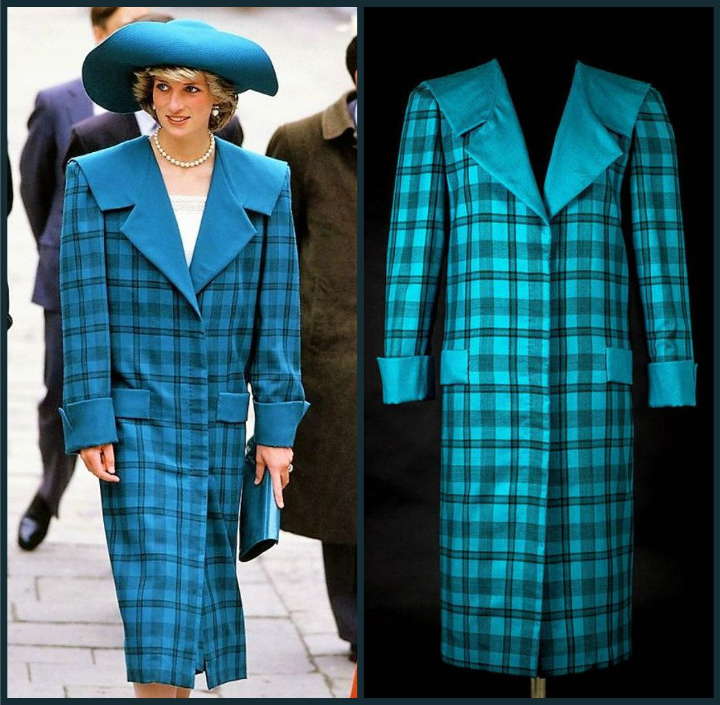 A teal tartan wool day ensemble designed by Diana\'s wedding dress ...