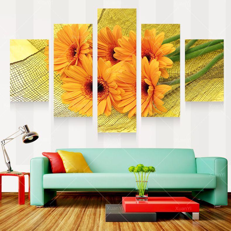Modern prints beautiful flower painting pictures cuadros - Cuadros para pintar en casa ...