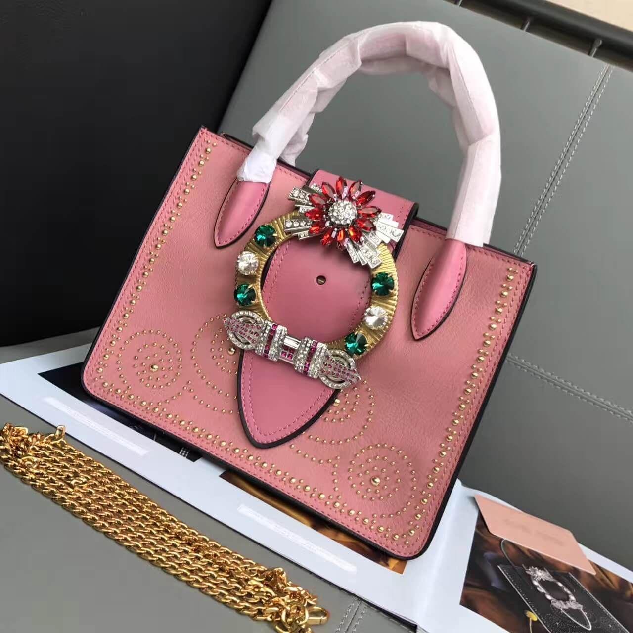 0549d37c5c24 Miu Miu Studded Top Handle Bag 100% Authentic 80% Off