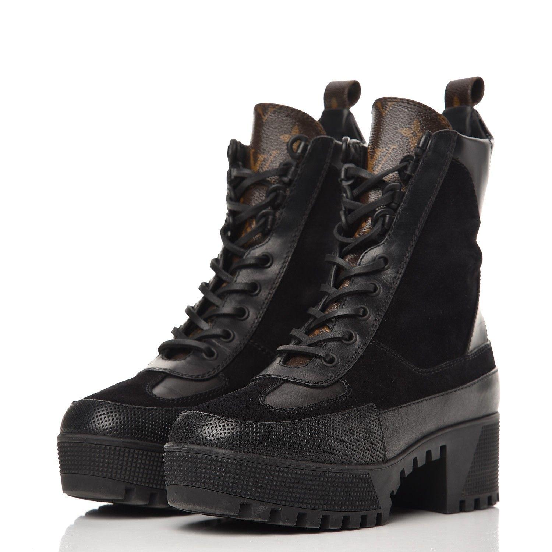 2f781e27008 LOUIS VUITTON Monogram Suede Calfskin Laureate Platform Desert Boots ...