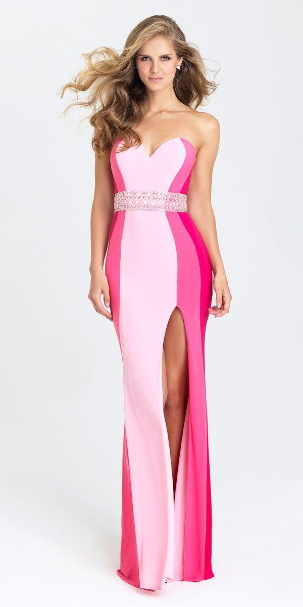 Unique Color Block Dress 16-381. Colors: Pink, Turquoise, White ...