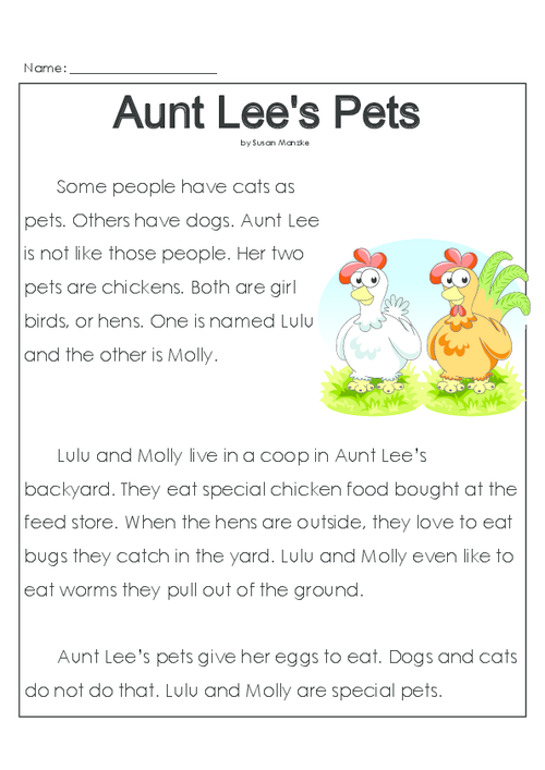 Aunt Lee's Pets | Reading comprehension activities ...