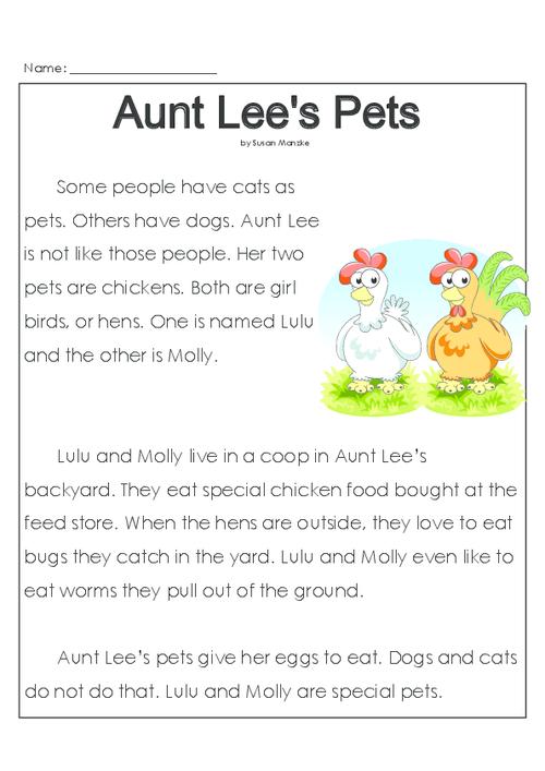 Aunt Lee's Pets - KidsPressMagazine.com Reading Comprehension Grade 1,  Reading Comprehension Activities, First Grade Reading Comprehension
