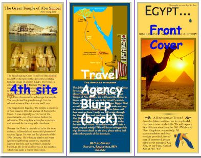 students create a travel brochure or travel agency presentation