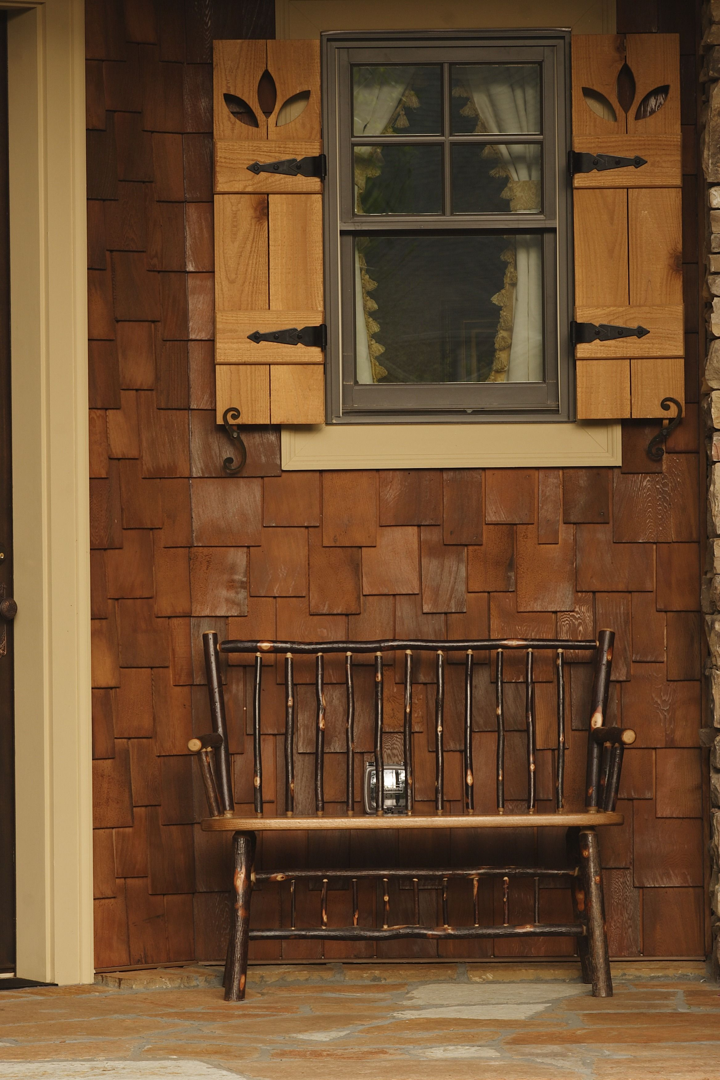 Traditional Porch With A Wood Shingle Siding A Rustic