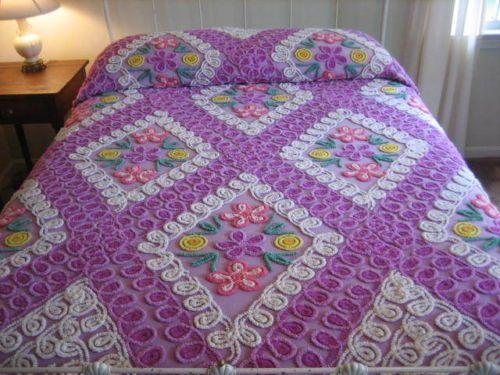 "Antique Vintage Lavender White Pastel Floral Cutter Chenille Bedspread 85""X97""   eBay"