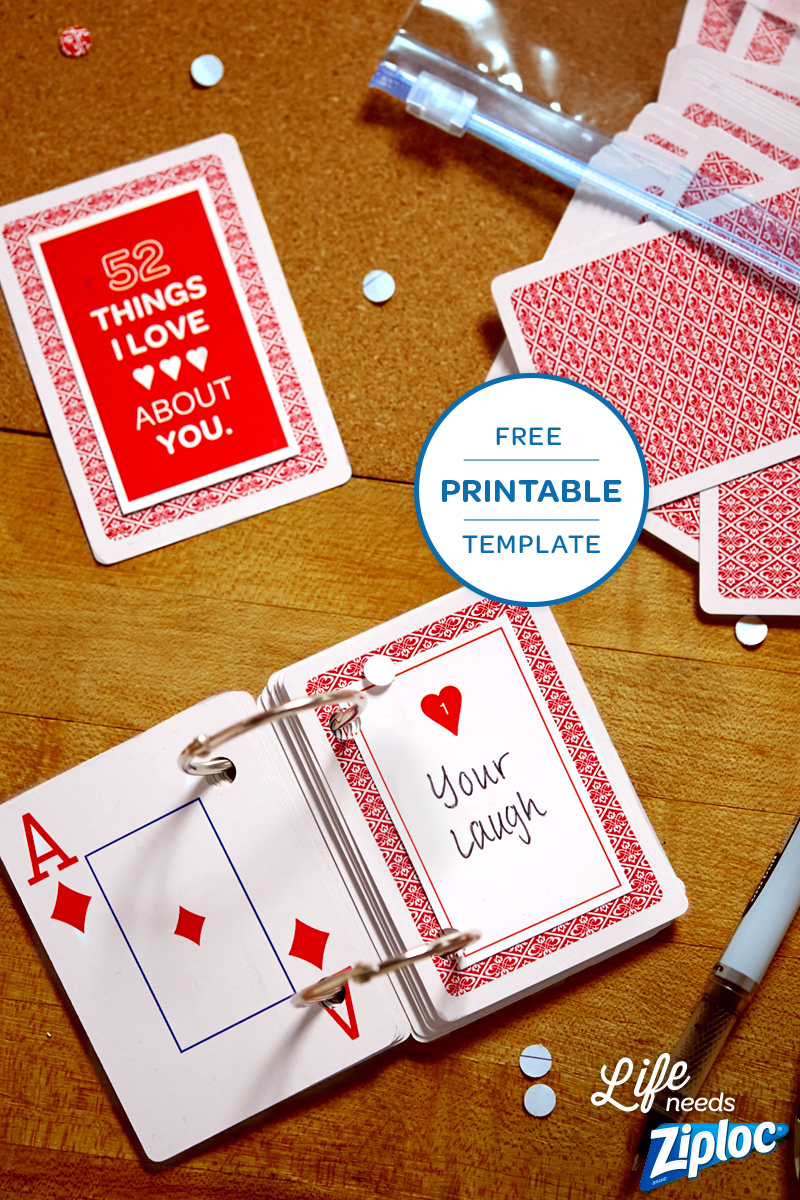 52 things i love about you cards template free