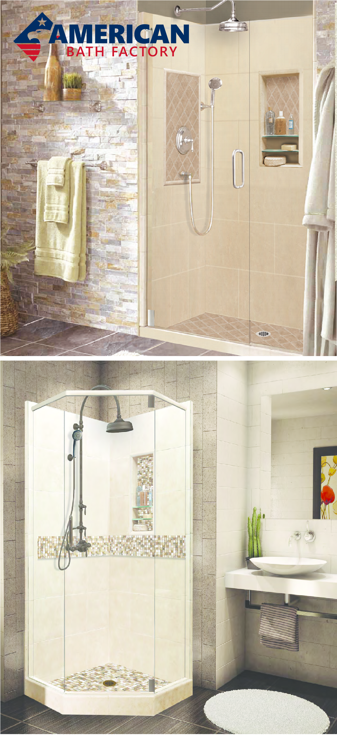 Stone and Glass Mosaic Shower Kit from $1,267 - Easy to Install ...
