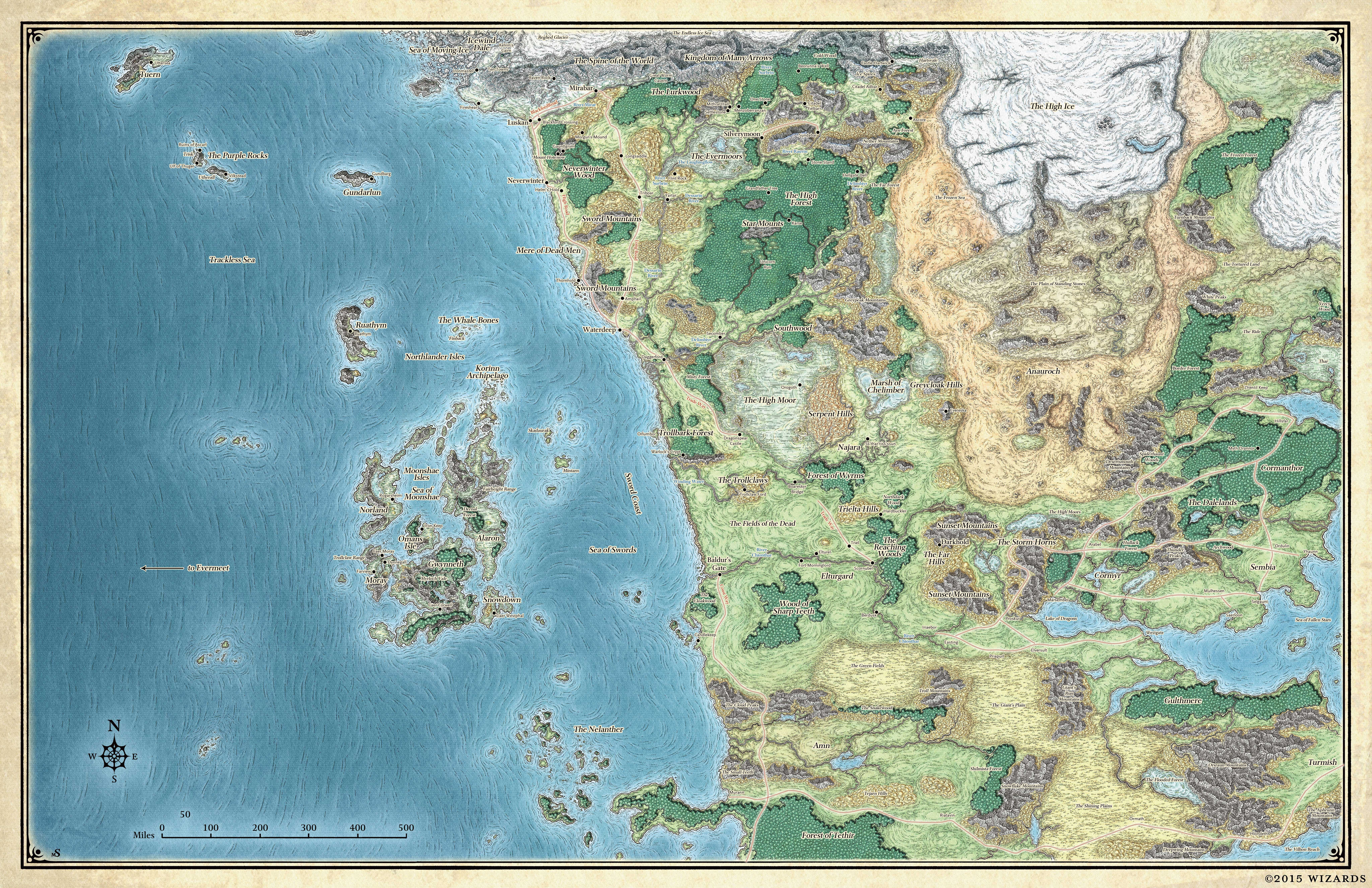 Faerun Forgotten Realms Wiki Fandom Powered By Wikia Dungeons And Dragons Map Fantasy Map