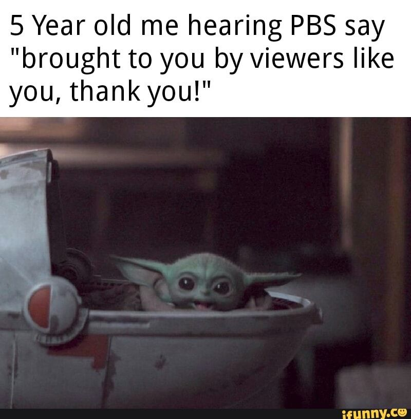 5 Year Old Me Hearing Pbs Say Brought To You By Viewers Like You Thank You Ifunny Yoda Silly Jokes Funny Relatable Memes