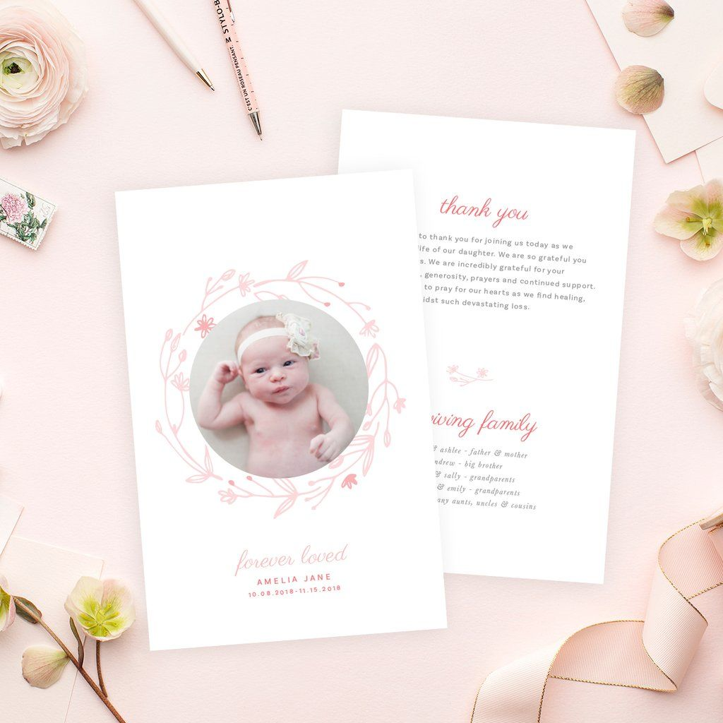 Funeral Service Program Template For Baby Or Child No 004