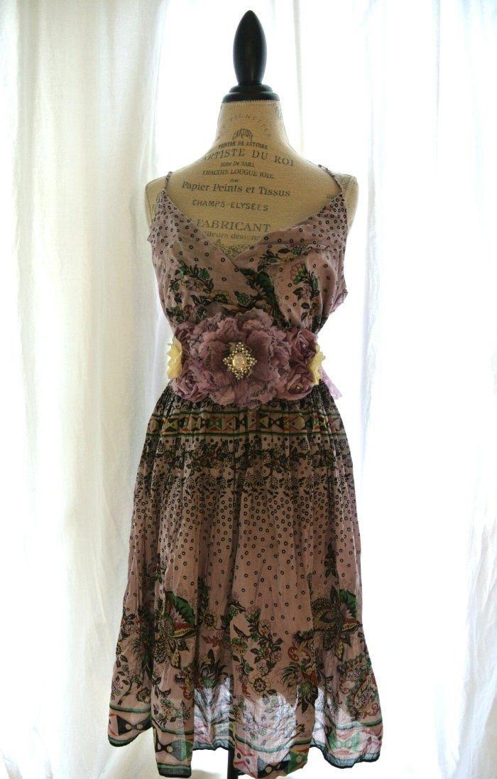 Upcycled Clothing Shabby Chic | Upcycled boho chic sundress, shabby slip dress, garden party summer d ...