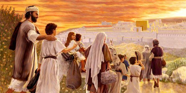 José, María y su familia viajando a Jerusalén para ir al templo a adorar a Dios