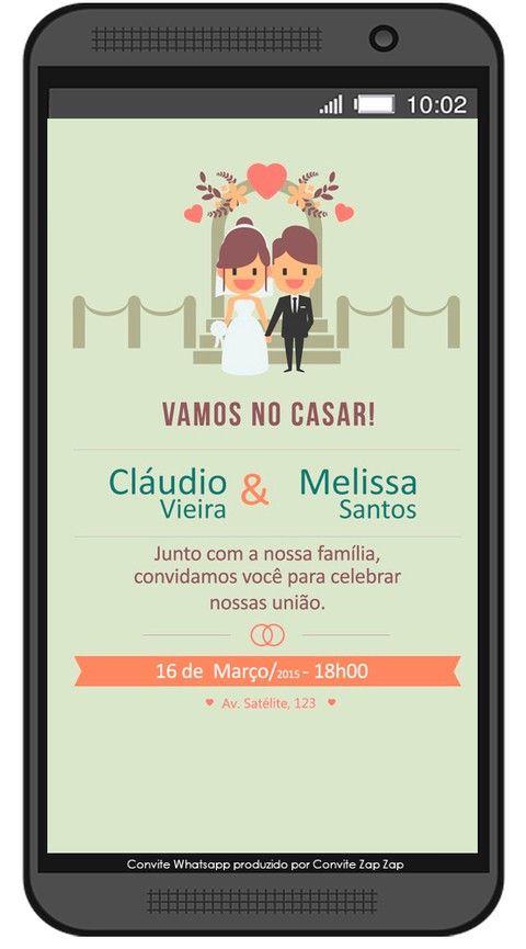 Convite De Casamento Whatsapp Perfeito Com Imagens Convite De