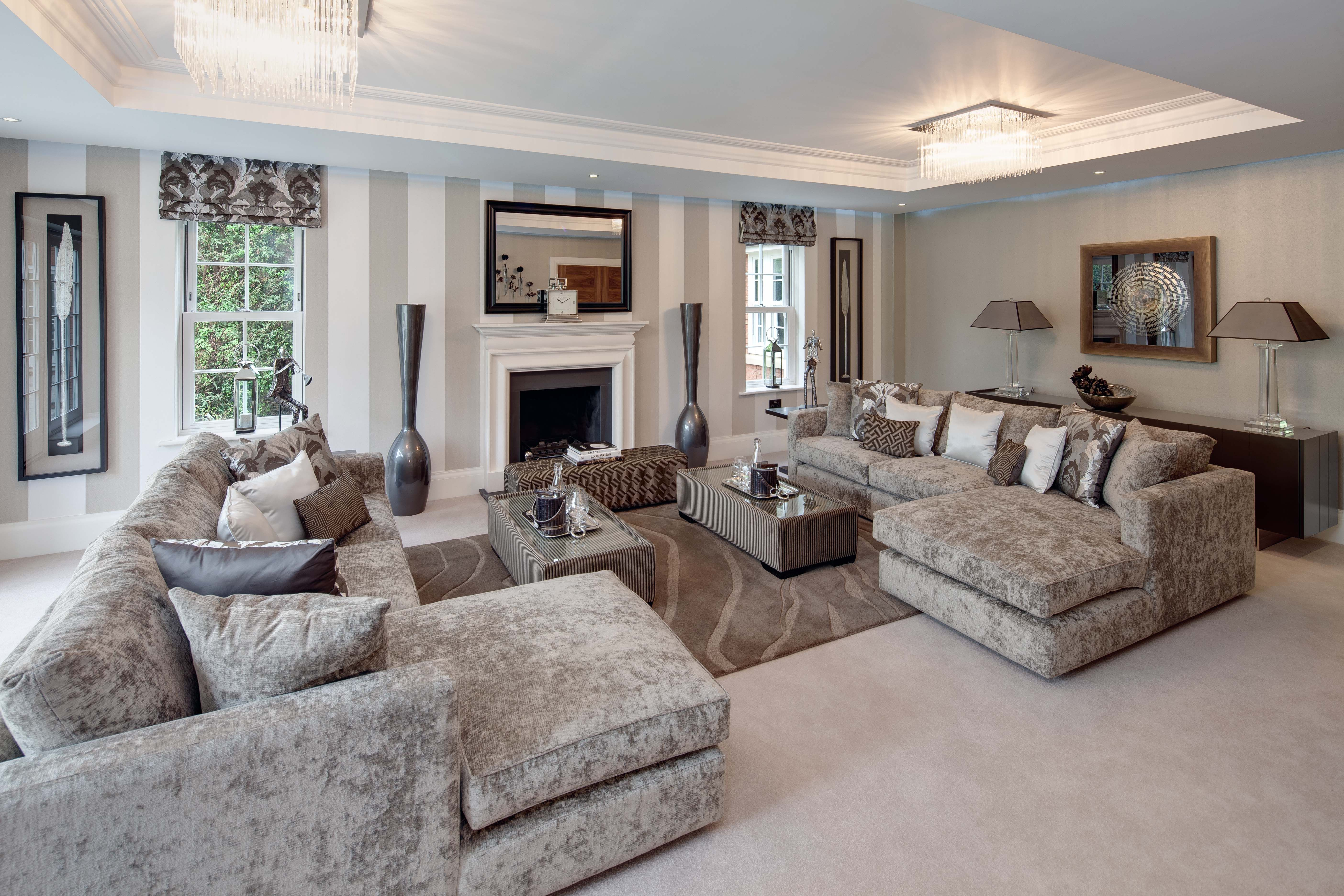 Formal Living Room With Detailed Coffer Ceiling And Taupe Mushroom Colour Tones Formal Living Room Designs Taupe Living Room Formal Living Room Sets
