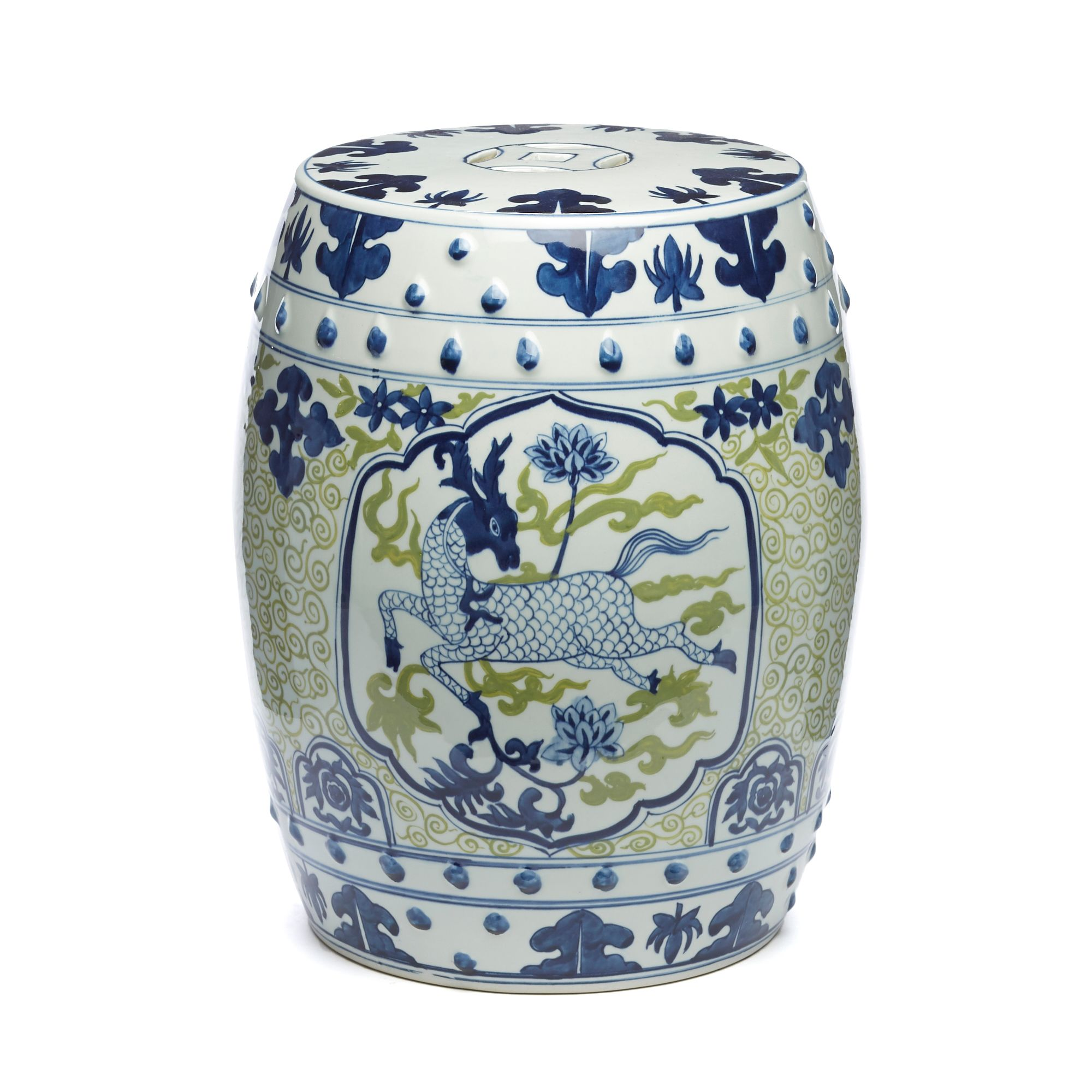 Buy Blue And Green Deer Dynasty Garden Stool Online At Gump S