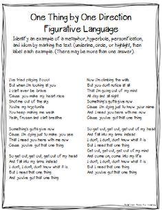 Head Over Heels For Teaching: Song lyrics to teach figurative ...