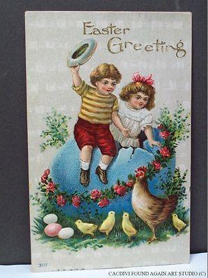 Easter-Postcard-Large-Colored-Egg-Cute-Kids-Chicks-Boy-Girl-Hen-1911
