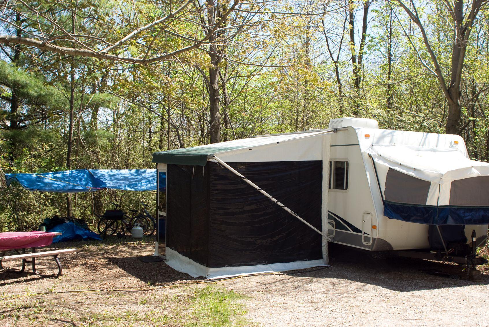 camper with canopies Camper maintenance, Camper, Camper