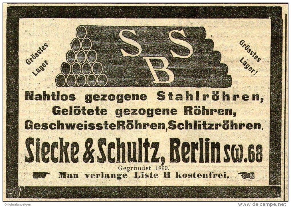 Original-Werbung/ Anzeige 1910 - STAHLRÖHREN SIECKE & SCHULTZ - BERLIN - ca. 100 x 65 mm