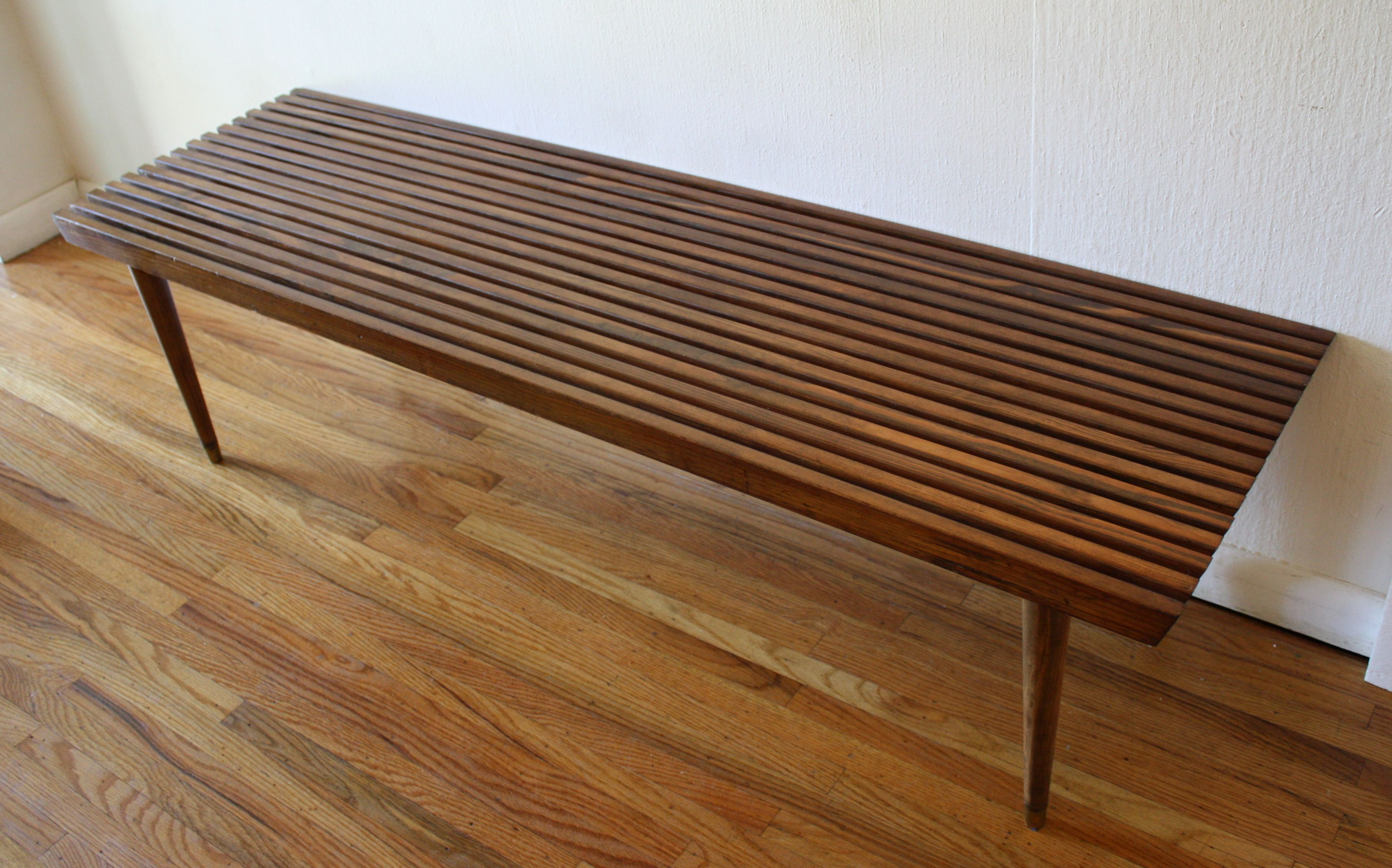 Cool Mid Century Modern Long Slatted Table Bench With Tapered Gmtry Best Dining Table And Chair Ideas Images Gmtryco