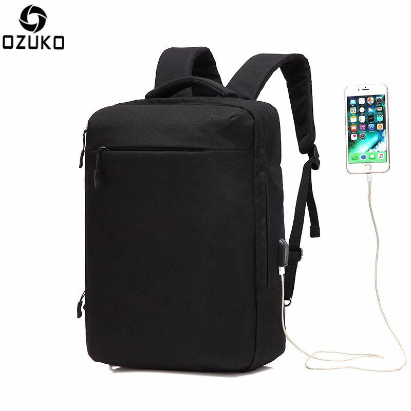 Ozuko Multi-functional Men Backpack Waterproof USB Charge Computer Backpacks  15Inch Laptop Bag Creative Student. School BackpacksMen s ... 96810ebe8b936