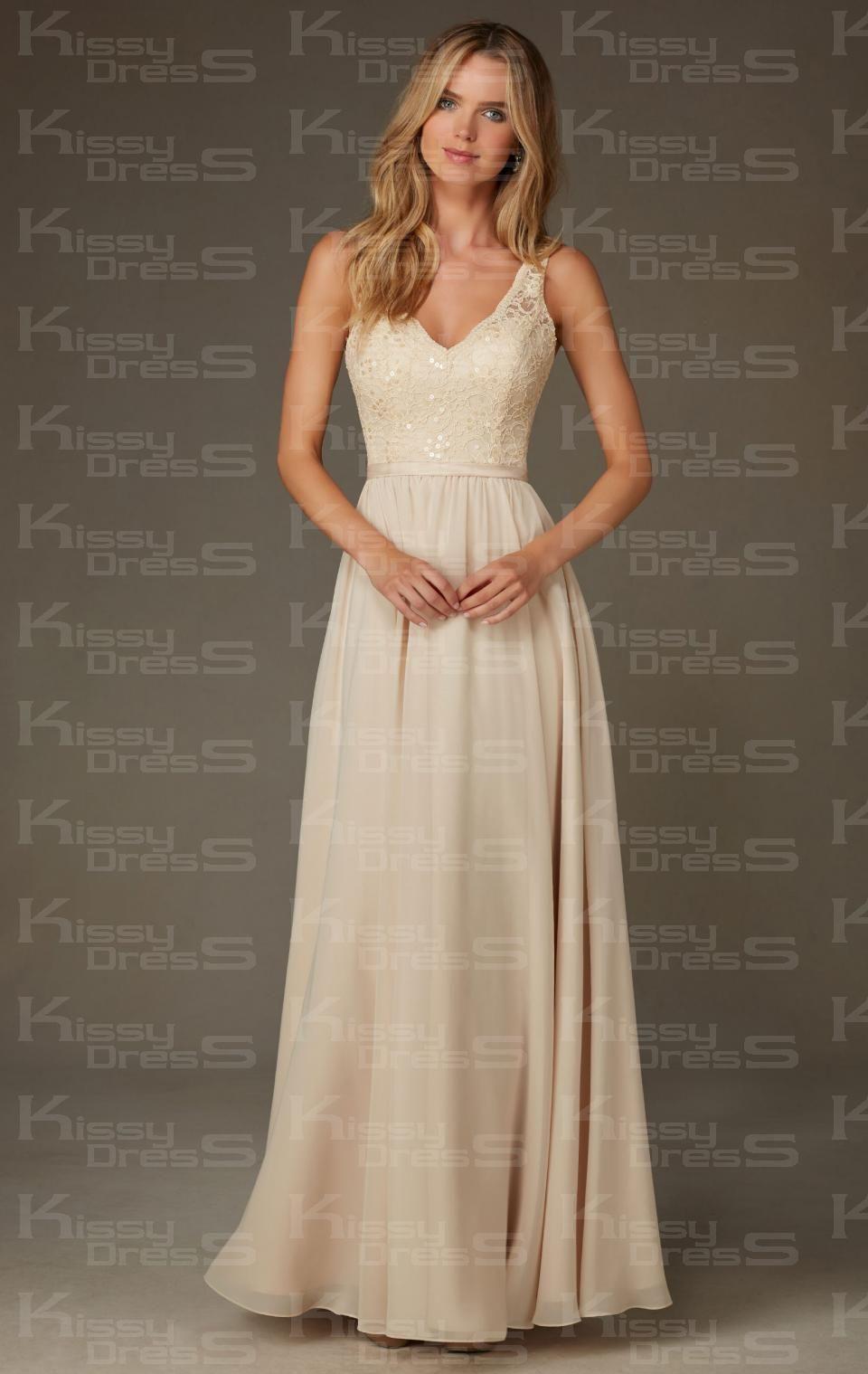 Kissybridesmaidsunique champagne long bridesmaid dress