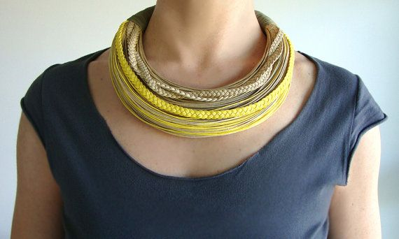 <3 Yellow Natural and Olive Fiber Statement by superlittlecute
