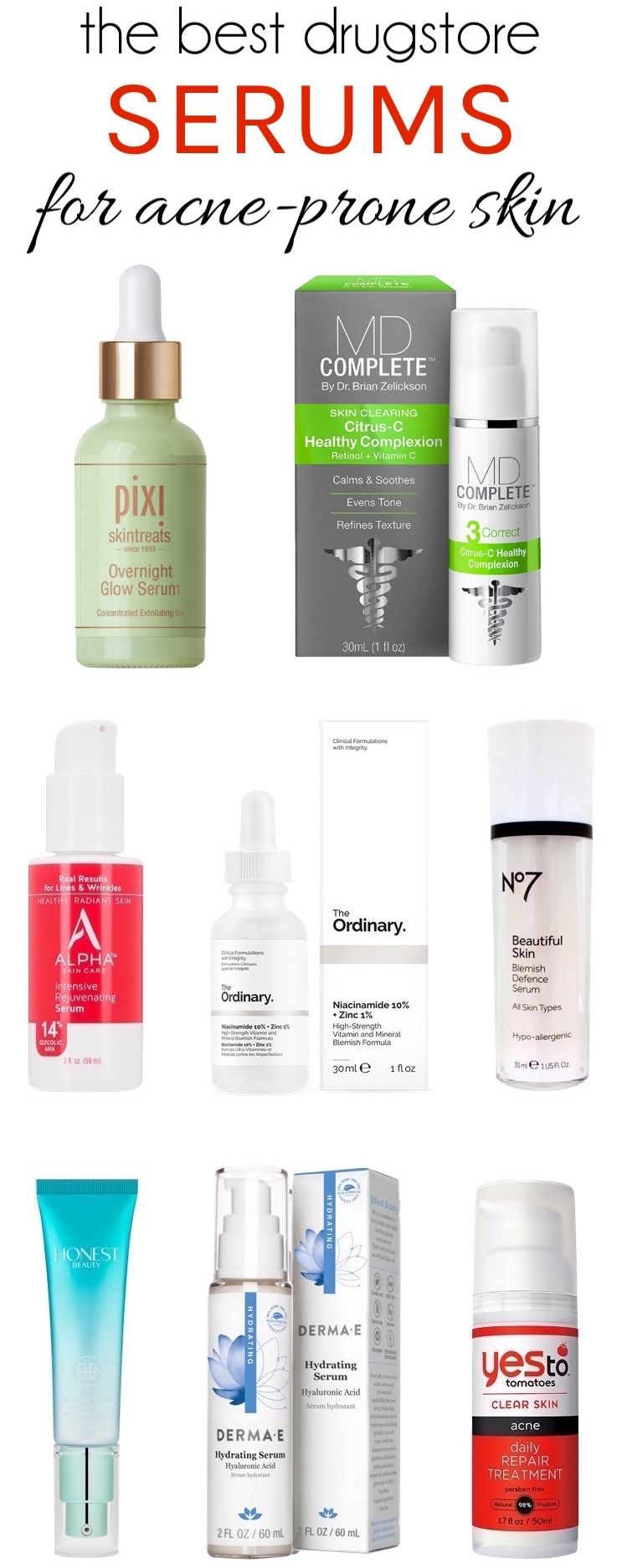 The Best Drugstore Serums Acne Prone Skin Will Love Acne Skincare Routine Acne Prone Skin Drugstore Skincare Routine