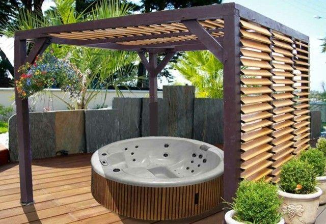 Pergola jardin  un coin de fraîcheur pour se détendre Jacuzzi - amenagement jardin avec spa