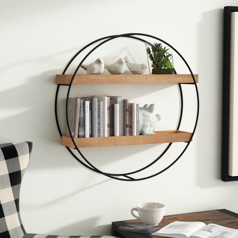 Maisha Round Metal And Wood Wall Shelf Round Wall Shelves