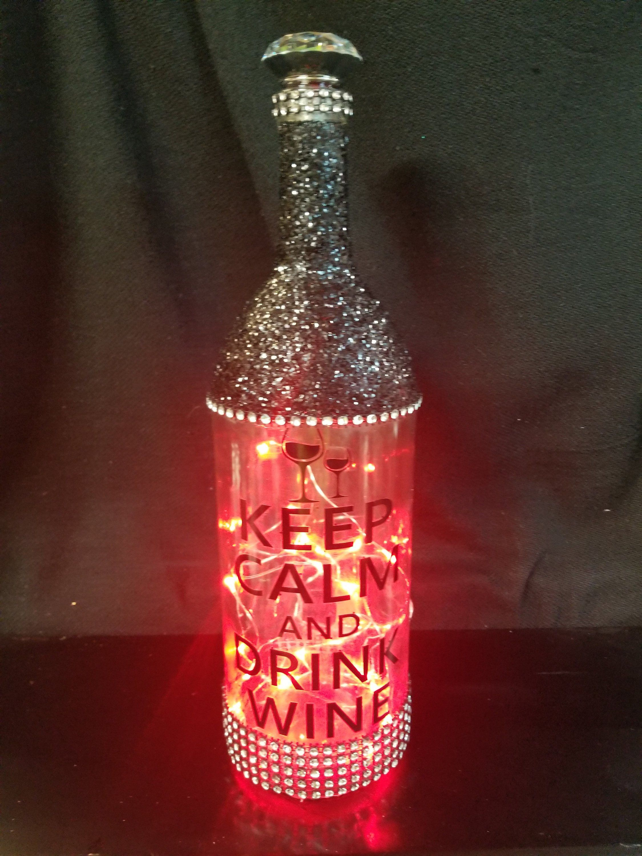 Keep Calm And Drink Wine Red Lighted Bottle Bottle Lights Wine Bottle Crafts Bottle Crafts