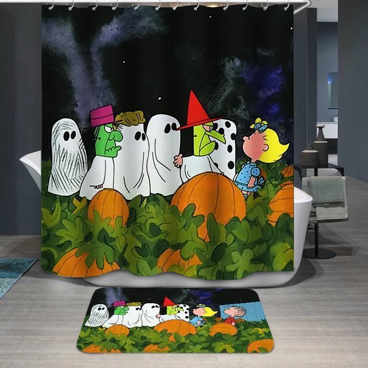 Halloween Great Pumpkin Charlie Brown Peanuts Custom Shower Curtain Itdayshop Customshowe Custom Shower Curtains Halloween Curtains Halloween Shower Curtain
