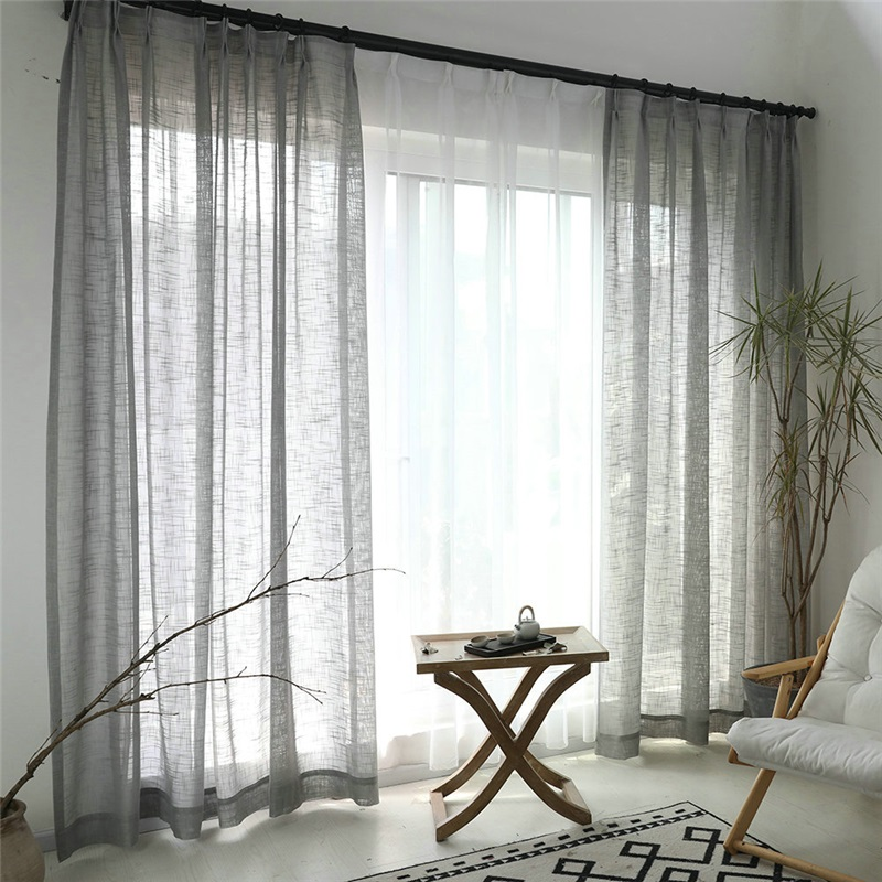 Grey Sheer Curtain Breathable Solid Color Voile Curtain Panle Living Room Bedroom Gray Sheer Curtains Curtains Living Grey Curtains