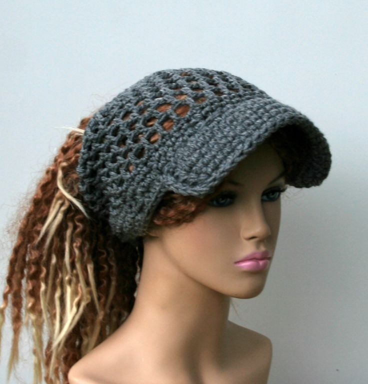 Open stitch custom color Ponytail hat, Visor Dread Tube cap, billed ...