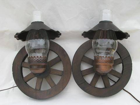 western wagon wheel vintage wood wall light sconces, pair ... on Wood Wall Sconces Decorative Lighting id=51643